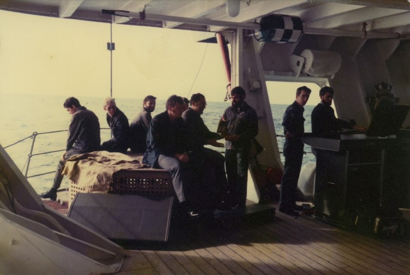 L to R Demerol, Reynolds, Gallagher, Henshaw, Stucas, McCallum, Anderson & Wright on the Quarterdeck HMAS Melbourne 1979 New Zealand trip.